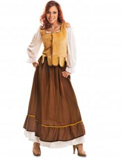Mittelalter-Wirtskostüm für Damen Karnevalskostüm braun-gelb