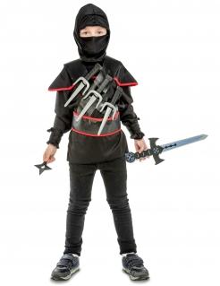 Schwarzes Ninja-Kostüm mit Zubehör für Kinder