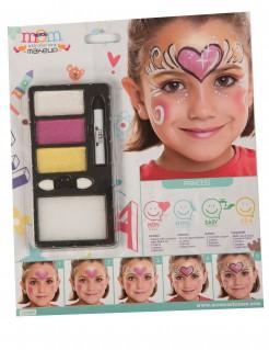 Schminkpalette Herz-Motiv Prinzessinnen-Make-up 4-teilig weiss-pink-gelb