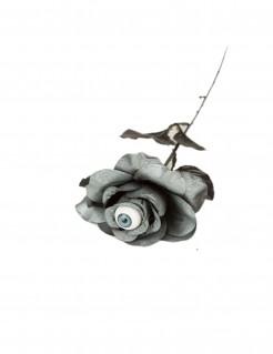 Halloween-Rose mit Auge grau-schwarz 40 cm