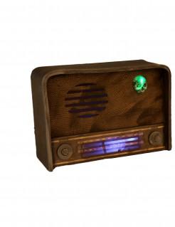 Leuchtendes Grusel-Radio mit Sound Halloween-Dekoration braun 31 x 11 cm