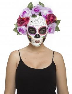 Skelett-Maske Tag der Toten Halloween-Maske weiss-bunt