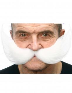 Breiter Schnurrbart für Erwachsene weiss
