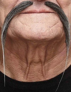 Chinesen Schnurrbart für Erwachsene grau