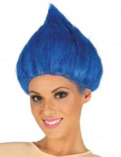 Troll-Perücke für Erwachsene blau