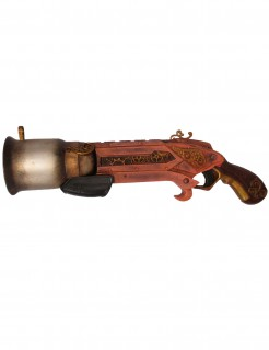 Spiezeug-Kolbenpistole Steampunk rotbraun 32cm