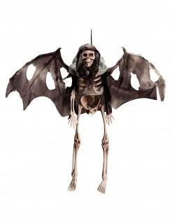 Skelett-Deko mit Fledermausflügeln Halloween-Hängedeko beige-grau