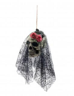 Schädel mit Schleier Halloween-Hängedeko 50 cm