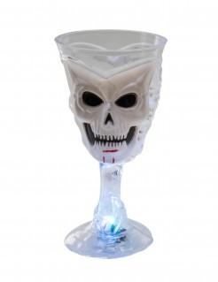 Halloween-Glas mit Schädel und LED weiss