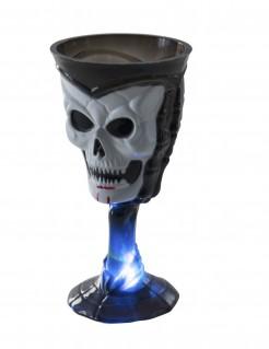 Halloween-Glas mit Schädel und LED schwarz-weiss