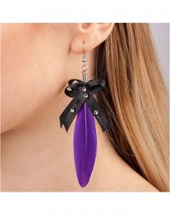 Feder-Ohrringe für Erwachsene violett