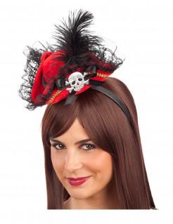 Piraten-Minihut auf Haarreif Kostümaccessoire rot-schwarz