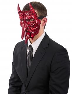 Teuflischer Dämon Halloween-Halbmaske rot-schwarz