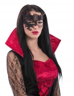 Halbmaske mit Kette für Damen schwarz-rot