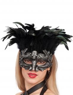 Maske mit Federn für Damen silber