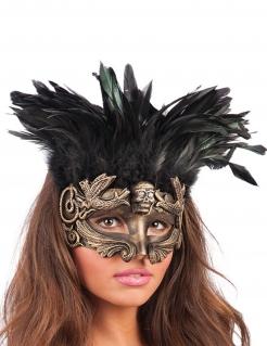 Maske mit Federn für Damen gold