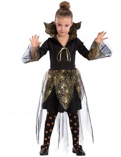 Kleine Spinnen-Vampirin Halloween-Kinderkostüm für Mädchen schwarz-gold
