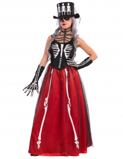 Elegante Skelett-Lady Halloween-Damenkostüm schwarz-rot-weiss
