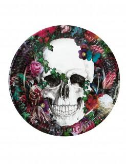 Dia de los Muertos Partyteller Halloween-Tischdeko 8 Stück bunt 23cm