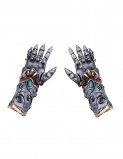 Latex-Ritterhandschuhe Kostümaccessoire grau-bronze-türkis