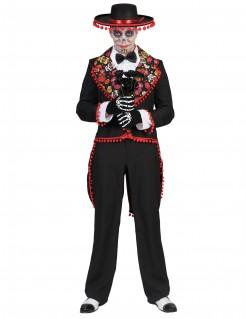 Dia de los Muertos Herrenkostüm Skelett-Gentleman schwarz-bunt