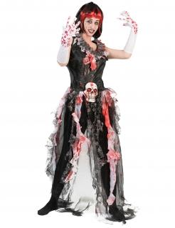 Blutige Horrorbraut Halloween-Damenkostüm schwarz-rot