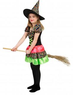 Süsse Hexe mit Punkten Halloween-Kinderkostüm für Mädchen schwarz-bunt