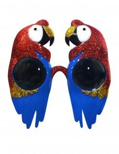 Witzige Papagei-Brille Accessoire bunt