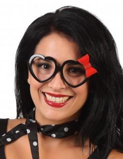 Herzförmige Brille für Erwachsene schwarz-rot