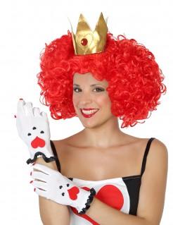 Herzkönigin Damenhandschuhe weiss-schwarz-rot
