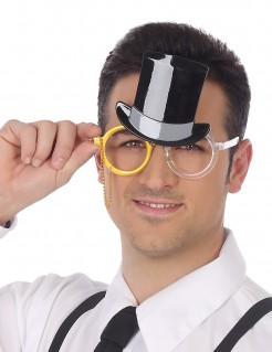 Lustige Brille mit Zylinder Partyzubehör für Erwachsene bunt