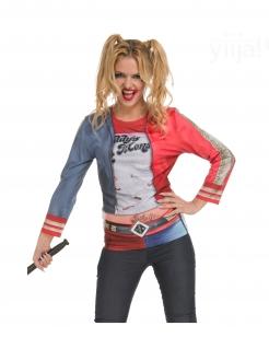 Böser Harlekin-Kostüm für Damen Faschingskostüm blau-rot-weiss