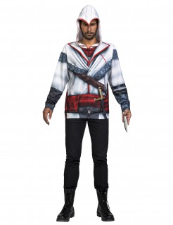 Assassin´s Creed™-Lizenzkostüm Nikolai-Kostüm weiss-grau-rot