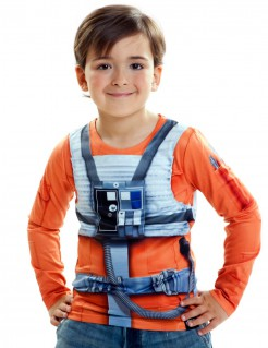 Luke Skywalker Longsleeve für Kinder Star Wars™-Oberteil orange-weiss-grau