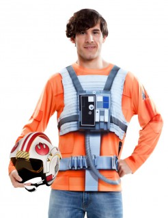 Luke Skywalker Longsleeve Star Wars™-Oberteil orange-weiss-grau