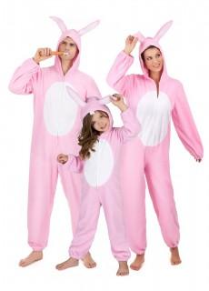 Hasen-Gruppenkostüm für Familien rosa-weiss