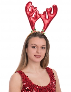 Rentier-Haarreif Weihnachten rot