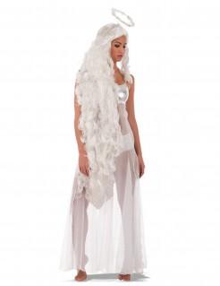 Lange Engel-Perücke mit Heiligenschein für Damen