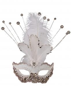 Glitzer-Maske für Damen weiss