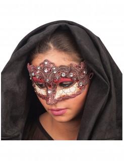 Edle Augenmaske für Damen mit Schmucksteinen bordeauxrot