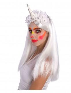Einhorn-Hut mit weißen Blüten für Erwachsene
