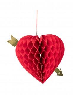 Herz mit Pfeil Wabendeko 20 cm