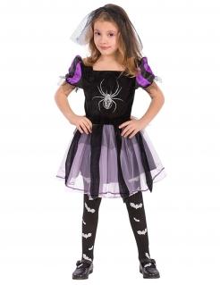Süsse Spinnen-Hexe Halloween-Kinderkostüm für Mädchen schwarz-lila