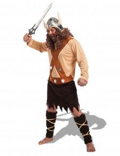 Wikinger-Herrenkostüm Krieger-Kostüm braun-beige-schwarz
