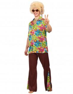 Hippie-Herrenkostüm Blumen-Motiv braun-bunt