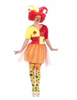 Spielkarten Clown-Kostüm für Damen