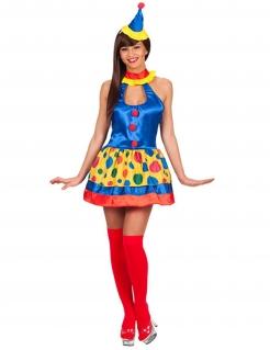 Glänzendes Clown Damenkostüm