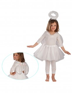 Kleiner Engel Kinderkostüm für Mädchen weiss-silber