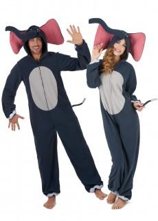 Elefanten-Paarkostüm Karneval grau-rosa