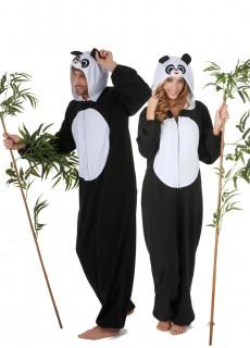 Panda-Paarkostüm für Erwachsene Karneval schwarz-weiss